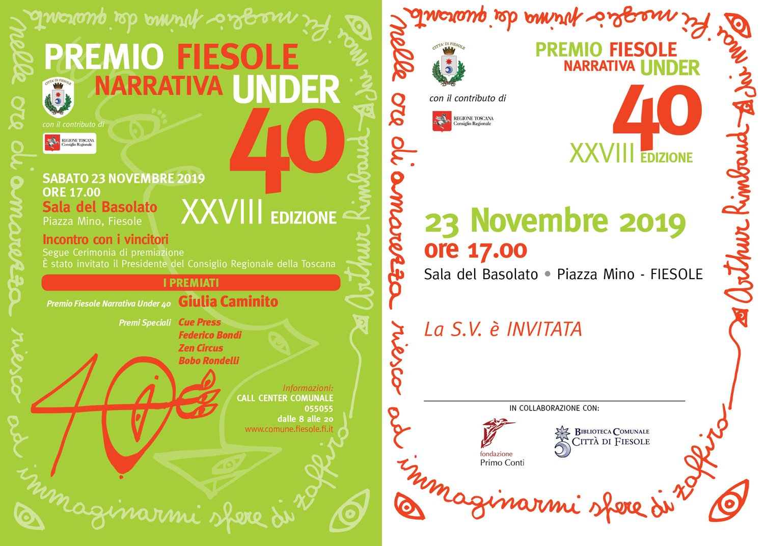 PREMIO FIESOLE NARRATIVA UNDER 40 - XXVIII edizione