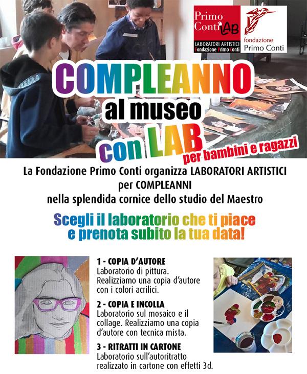 Possibilità di organizzare presso la Fondazione Primo Conti a Fiesole, la festa di compleanno per bambini/ragazzi di età tra i 5 e i 12 anni per un massimo di 27 partecipanti
